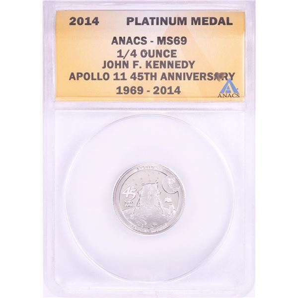 2014 Proof 1/4 oz Platinum JFK Apollo 11 Anniversary Medal ANACS MS69