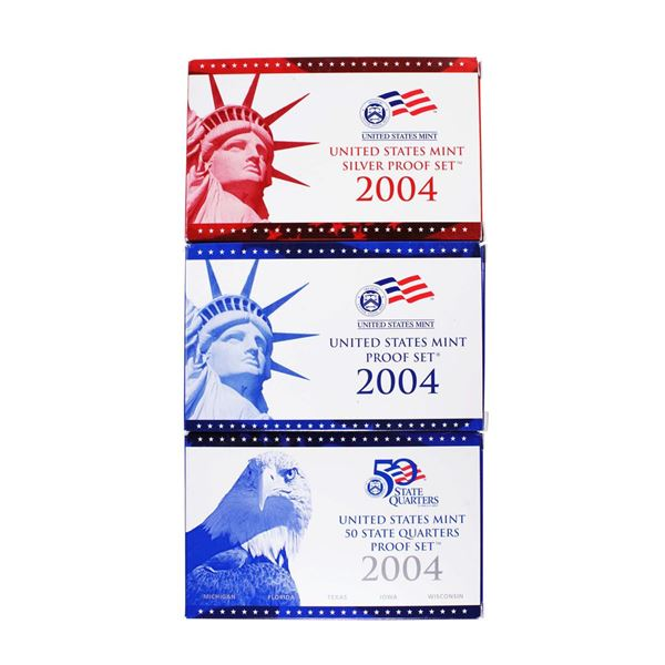 Lot of (3) 2004 United States Mint Proof Sets