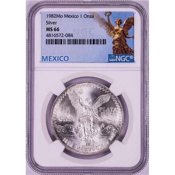 1982Mo Mexico 1 Onza Libertad Silver Coin NGC MS66