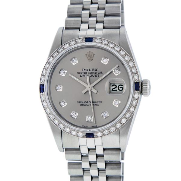 Rolex Mens Stainless Steel Gray Diamond & Sapphire Datejust Wristwatch