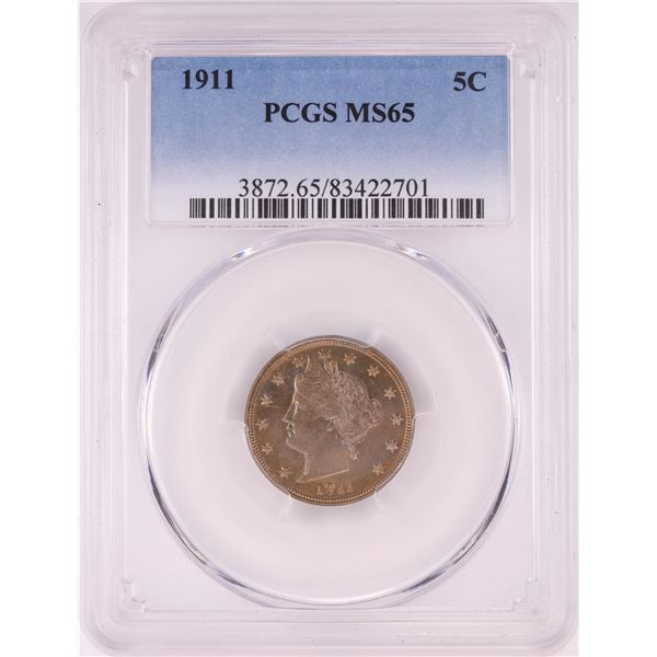 1911 Liberty Head V Nickel Coin PCGS MS65