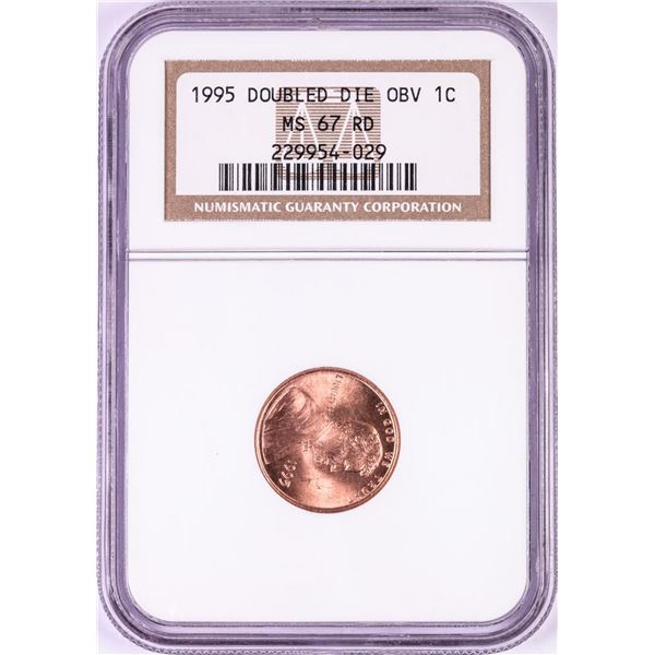 1995 Doubled Die Obverse Lincoln Memorial Cent Coin NGC MS67RD