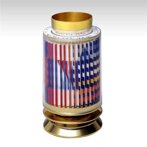 """Yaacov Agam """"Kiddush Cup"""" 24K Gold Plated Sterling Silver With Agamograph In Lucite"""