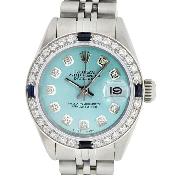 Rolex Ladies Stainless Steel Diamond & Sapphire Oyster Perpetual Datejust Wristwatch