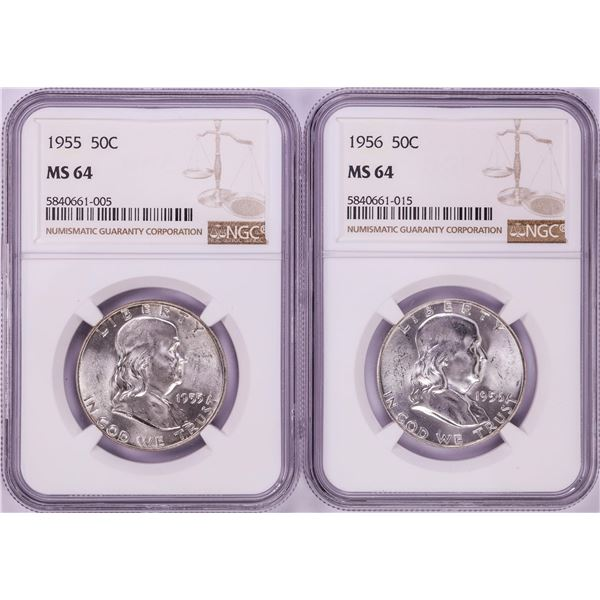 Lot of 1955-1956 Franklin Half Dollar Coins NGC MS64