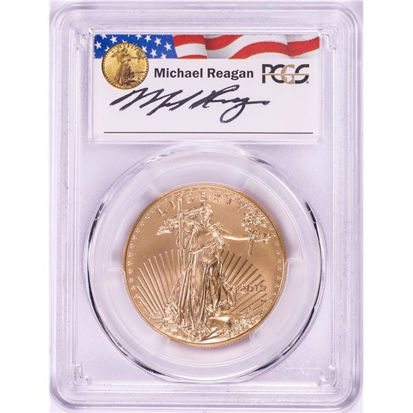 2019-W $50 Burnished American Gold Eagle PCGS SP70 First Strike M. Reagan Signature