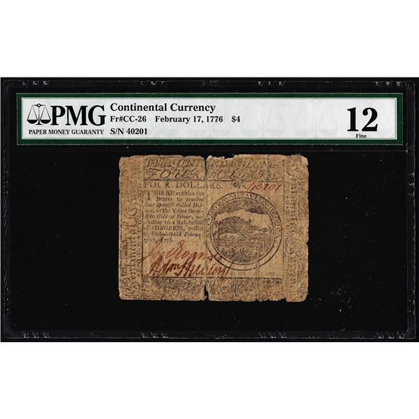 February 17, 1776 $4 Continental Currency Note Fr.CC-26 PMG Fine 12
