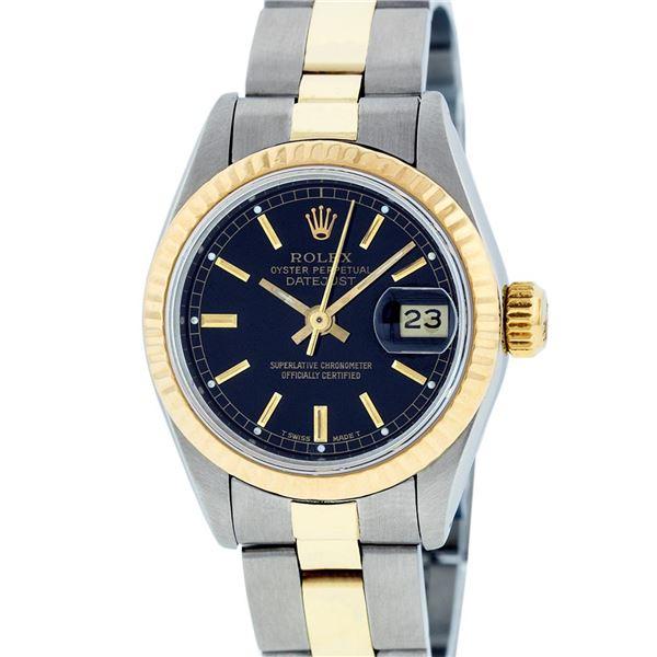 Rolex Ladies Two Tone Black Index Datejust Wristwatch
