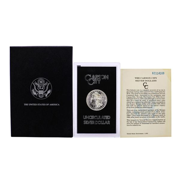 1882-CC $1 Morgan Silver Dollar Coin GSA Hoard Uncirculated w/Box & COA