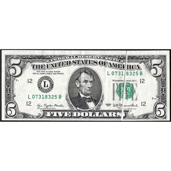1977 $5 Federal Reserve Gutter fold Error Note San Francisco