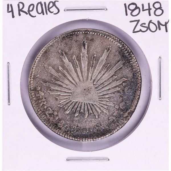 1848 ZsOM Mexico 4 Reales Silver Coin