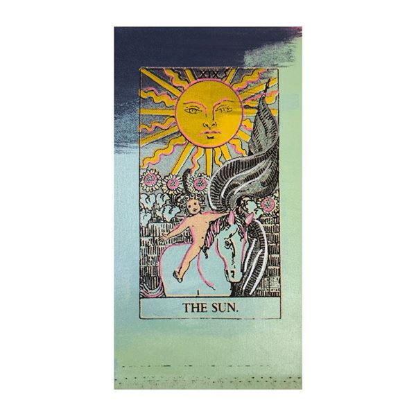 "Steve Kaufman (1960-2010) ""Tarot, The Sun"" Original Mixed Media On Canvas"