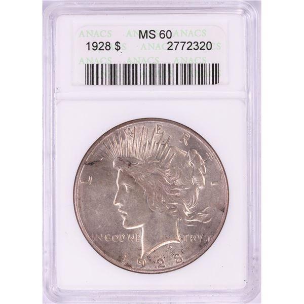 1928 $1 Peace Silver Dollar Coin ANACS MS60