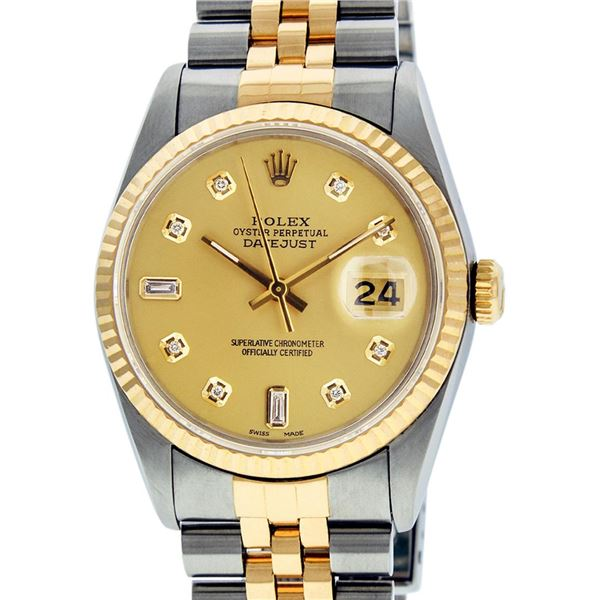 Rolex Mens Two Tone Champagne Diamond Datejust Oyster Perpetual Wristwatch