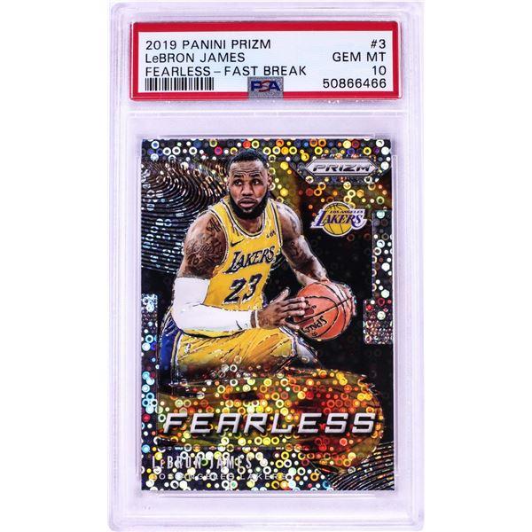 2019 Panini Prizm Fearless Fast Break LeBron James NBA Card #3 PSA Gem Mint 10