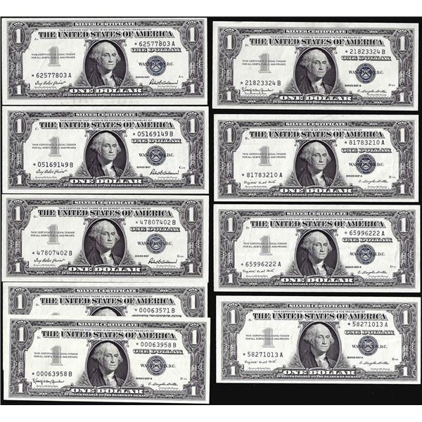 Lot of (9) 1957/1957A/1957B $1 Silver Certificate Star Notes