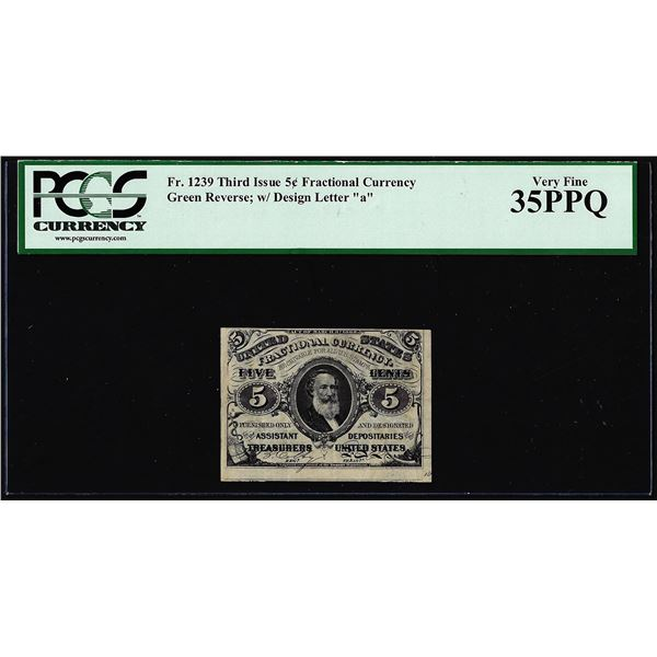 1863 Third Issue 5 Cents Fractional Currency Note Fr.1239 PCGS Very Fine 35PPQ