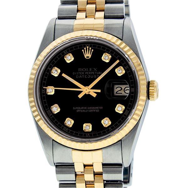 Rolex Mens Two Tone Black Diamond Datejust Wristwatch
