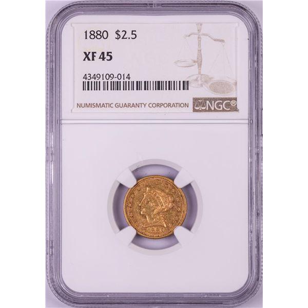 1880 $2 1/2 Liberty Head Quarter Eagle Gold Coin NGC XF45