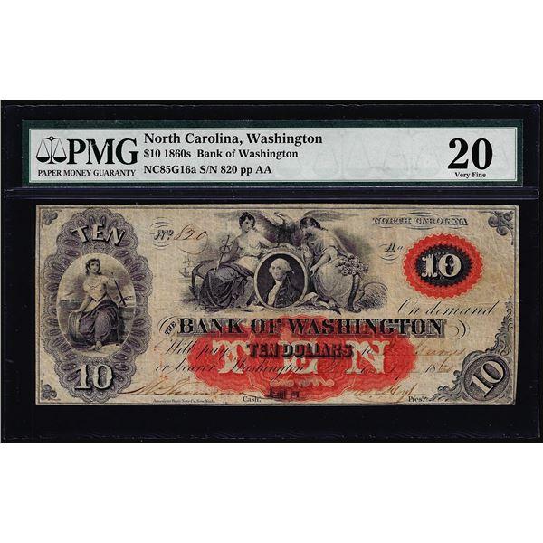 1860's $10 Bank of Washington North Carolina Obsolete Note PMG Very Fine 20