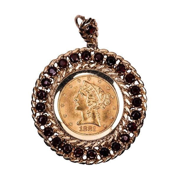 1881 $5 Liberty Head Half Eagle Gold Coin Pendant