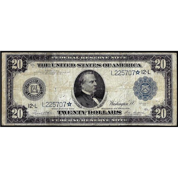 1914 $20 Federal Reserve STAR Note San Francisco