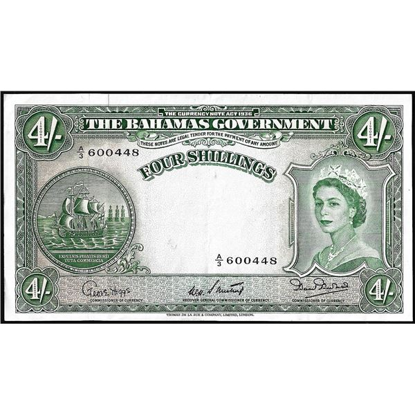 1936 The Bahamas Government Four Shillings Currency Note