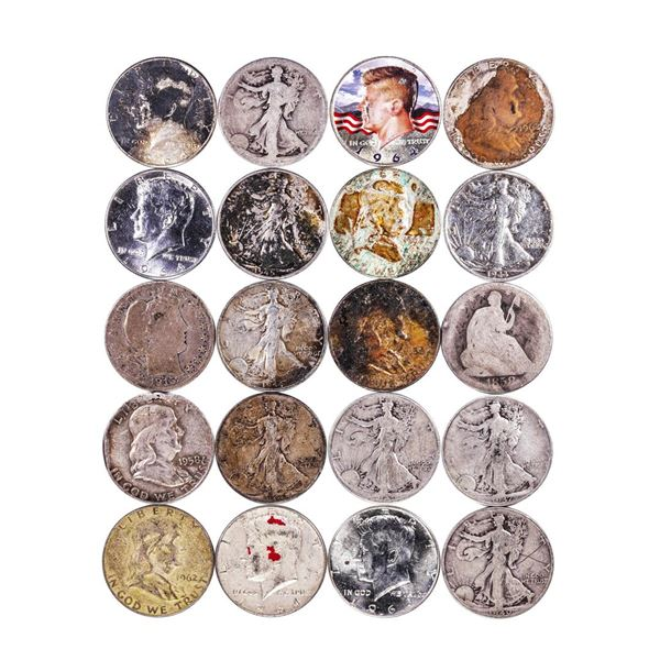 Lot of (20) Assorted 90% Silver Half Dollar Coins