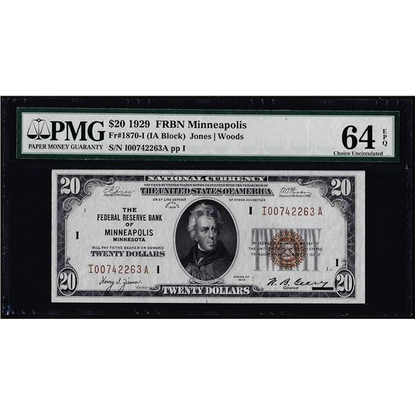 1929 $20 Federal Reserve Bank Note Minneapolis Fr.1870-I PMG Ch. Uncirculated 64EPQ