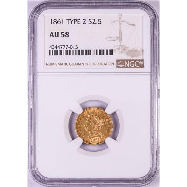 1861 New Reverse $2 1/2 Liberty Head Quarter Eagle Gold Coin NGC AU58