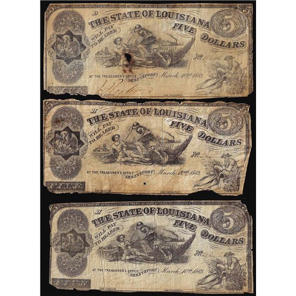 Lot of (3) 1863 $5 The State of Louisiana Baton Rouge, LA Obsolete Banknotes