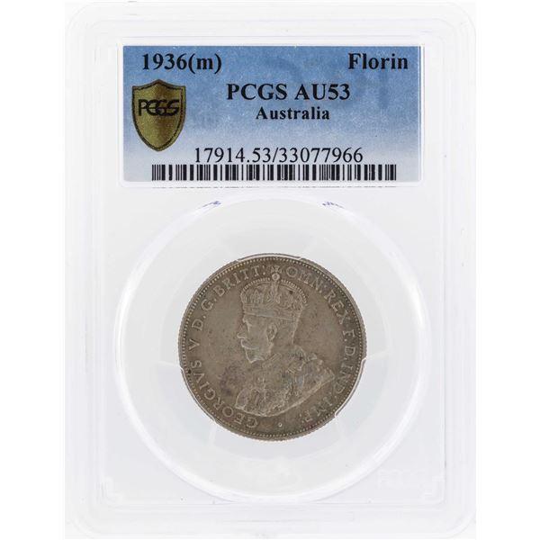 1936(m) Australia Florin Silver Coin PCGS AU53