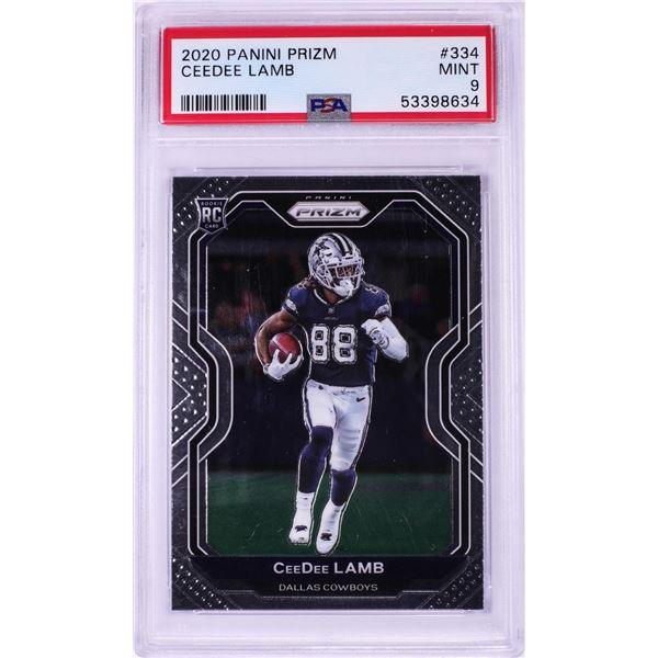 2020 Panini Prizm CeeDee Lamb NFL Card #334 PSA Mint 9