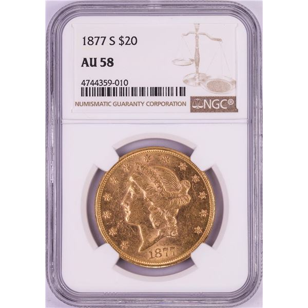 1877-S $20 Liberty Head Double Eagle Gold Coin NGC AU58