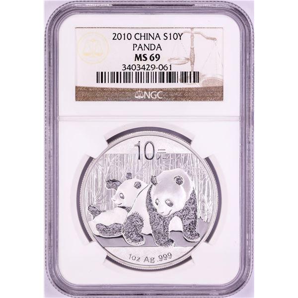 2010 China Panda Silver Coin NGC MS69