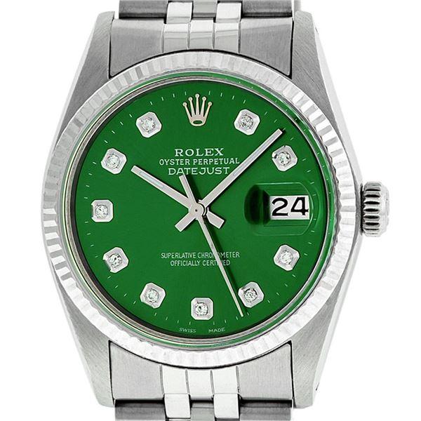 Rolex Mens Stainless Steel Green Diamond Datejust Wristwatch