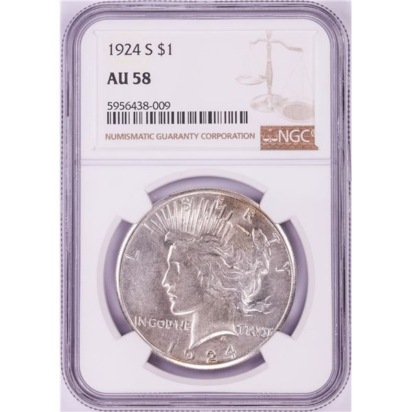1924-S $1 Peace Silver Dollar Coin NGC AU58
