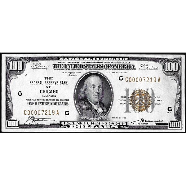 1929 $100 Federal Reserve Bank Note Chicago