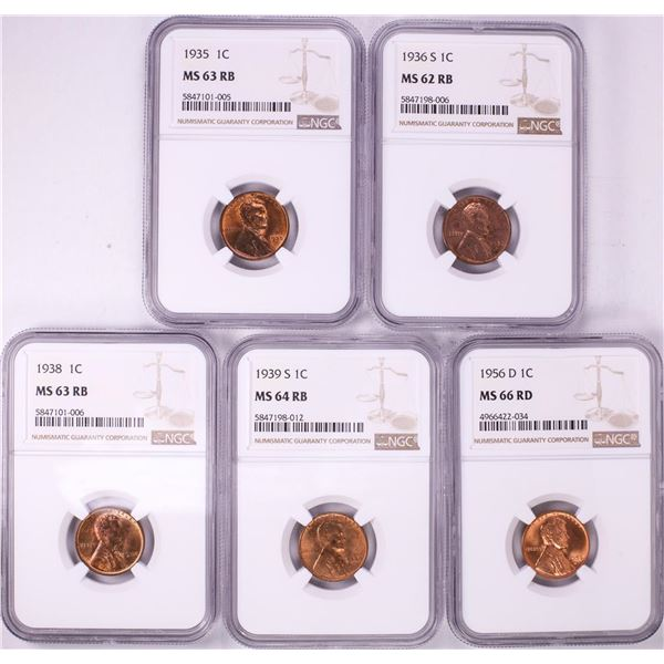 Lot of (5) Miscellaneous Lincoln Wheat Cent Coins NGC Graded