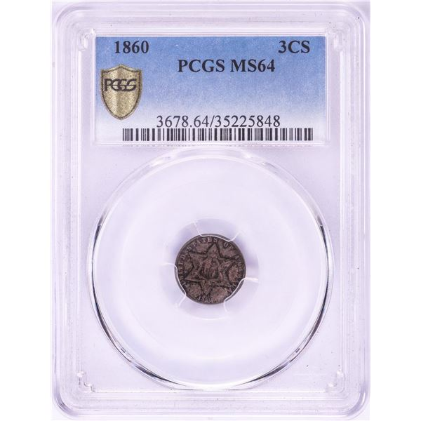1860 Three Cent Silver Coin PCGS MS64