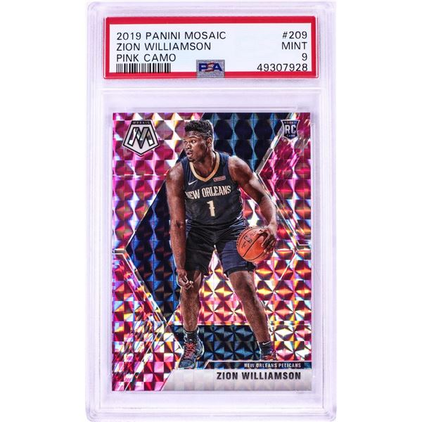2019 Panini Mosaic Pink Camo Zion Williamson NBA Card #209 PSA Mint 9