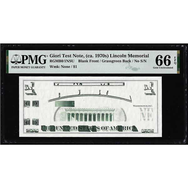 Circa 1970's Lincoln Memorial Giori Test Note PMG Gem Uncirculated 66EPQ