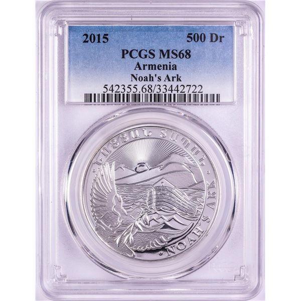2015 Armenia 500 Dram Noah's Ark Silver Coin PCGS MS68