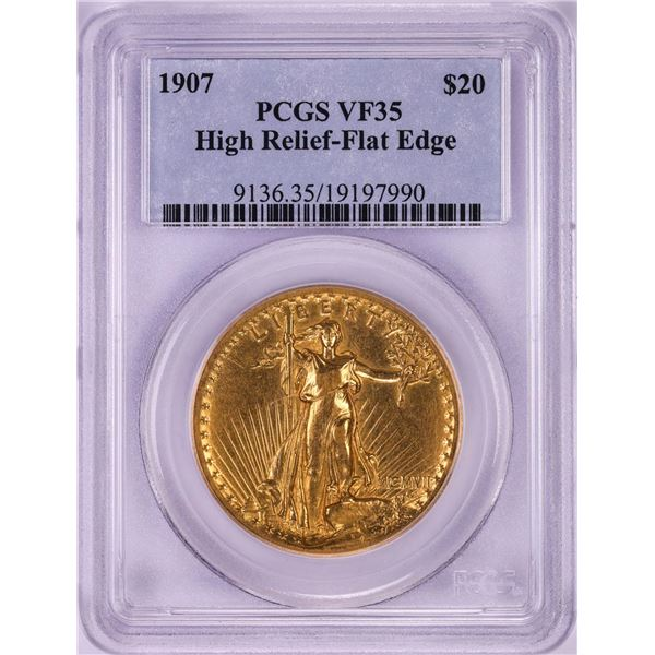1907 High Relief $20 St. Gaudens Double Eagle Gold Coin PCGS VF35 Flat Edge