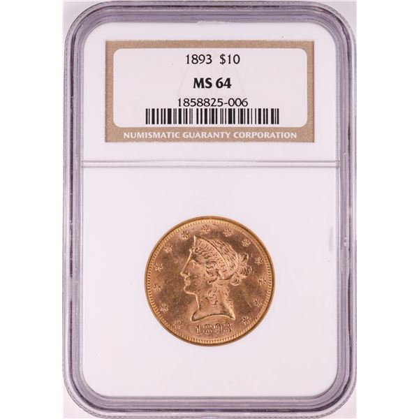 1893 $10 Liberty Head Eagle Gold Coin NGC MS64