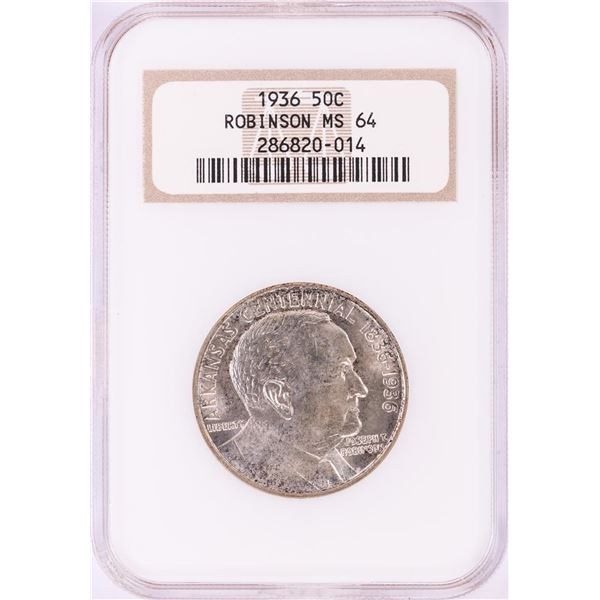 1936 Robinson Commemorative Half Dollar Coin NGC MS64