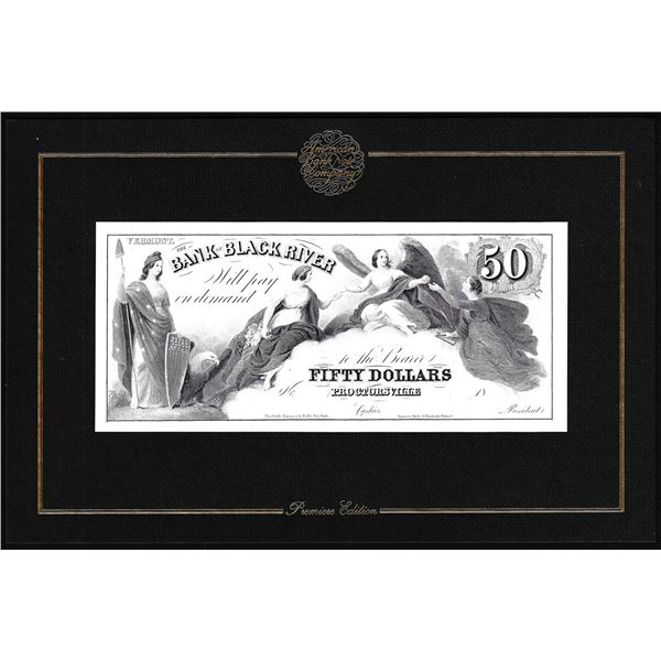 1994 American Bank Note Company Intaglio Print Bank of Black River Proctorsville, VT