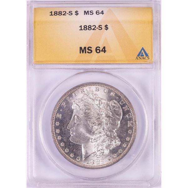 1882-S $1 Morgan Silver Dollar Coin ANACS MS64