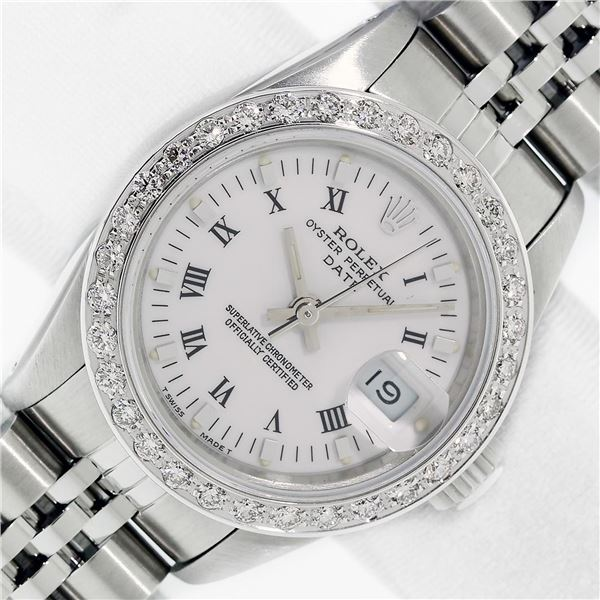 Rolex Stainless Steel White Roman Diamond Oyster Perpetual Datejust Wristwatch