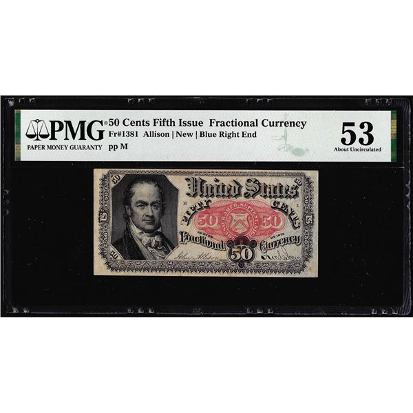 1874 Fifth Issue 50 Cent Fractional Currency Note Fr.1381 PMG About Uncirculated 53